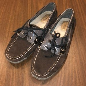 Black and Grey with Patent Leather Sperry's
